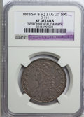 Bust Half Dollars, 1828 50C Small 8, SQ 2 Large Lettering--Environmental Damage--XF40NGC. XF Details. O-114. NGC Census: (39/803). PCGS Popul...