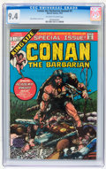 Bronze Age (1970-1979):Miscellaneous, Conan the Barbarian Annual #1 (Marvel, 1973) CGC NM 9.4 Off-whiteto white pages....