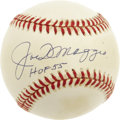 "Autographs:Baseballs, Joe DiMaggio ""HOF 55"" Single Signed Baseball. At one time, JoeDiMaggio was perhaps the single most revered person in the r..."