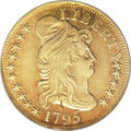 Early Half Eagles: , 1795 $5 Small Eagle--Obverse Damage, Improperly Cleaned--NCS. AUDetails. NGC Census: (7/176). PCGS Population (27/203). Mi...