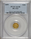 California Fractional Gold: , 1855 $1 Liberty Octagonal 1 Dollar, BG-533, Low R.4, AU58 PCGS.PCGS Population (27/33). NGC Census: (3/7). (#10510)...