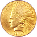 Indian Eagles, 1907 $10 Wire Rim MS65 PCGS. CAC....