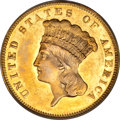 Three Dollar Gold Pieces, 1873 $3 Closed 3 AU55 PCGS....