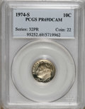 Proof Roosevelt Dimes: , 1974-S 10C PR69 Deep Cameo PCGS. PCGS Population (2310/12). NGCCensus: (26/0). Numismedia Wsl. Price for NGC/PCGS coin in...