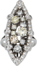 Estate Jewelry:Rings, Colored Diamond, Diamond, Platinum Ring. ...