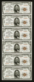 National Bank Notes:Alabama, Alexander City, AL - $5 1929 Ty. 2 The First NB Ch. # 7417 Uncut Sheet. ...