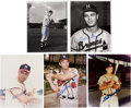 Autographs:Photos, Eddie Mathews Signed Photograph Lot of 9.... (Total: 8 items)