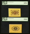 Fractional Currency:First Issue, Fr. 1231SP 5¢ First Issue Wide Margin Pair PCGS Superb Gem New67PPQ and Very Choice New 64PPQ.... (Total: 2 notes)