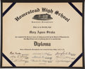 Autographs:Others, 1940 Cum Posey Signed Homestead High School Diploma. ...