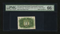 Fractional Currency:Second Issue, Milton 2E10R.4c 10¢ Second Issue Experimental PMG Gem Uncirculated 66 EPQ....