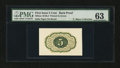 Fractional Currency:First Issue, Milton 1E5R.3 5¢ First Issue Proof Printed in Green PMG Choice Uncirculated 63....