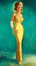 Pin-up and Glamour Art, JON WHITCOMB (American, 1906-1988). The Evening Gown, 1965.Oil on canvas. 66 x 36 in.. Signed lower left. ...