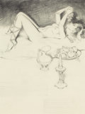 Pin-up and Glamour Art, FRITZ WILLIS (American, 1907-1979). Reclining Nude EatingGrapes. Pencil on paper. 12 x 9 in.. Not signed. ...