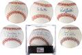 Autographs:Baseballs, Baseball Stars and Hall of Famers Single Signed Baseballs Lot of6.... (Total: 6 items)