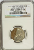 Errors, 1971-D 25C Washington Quarter Defective Clad Layer on Obverse AU58NGC. NGC Census: (0/128). PCGS Population (2/496). Minta...