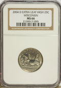 Statehood Quarters, 2004-D 25C Wisconsin Extra Leaf High MS66 NGC. PCGS Population(142/2). Numismedia Wsl. Price for probl...