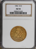 Liberty Eagles: , 1852 $10 AU55 NGC. NGC Census: (114/120). PCGS Population (18/37).Mintage: 263,106. Numismedia Wsl. Price for NGC/PCGS coi...