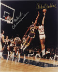 Autographs:Photos, Wilt Chamberlain and Kareem Abdul-Jabbar Dual-Signed OversizedPhotograph. Elegant portrait of two titans of the hardwood i...