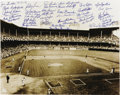 Autographs:Photos, Brooklyn Dodgers Legends Multi-Signed Photograph. This classicdepiction of the hallowed baseball grounds known as Ebbets F...
