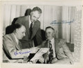 Autographs:Photos, Casey Stengel and Leo Durocher Dual-Signed Wire Photograph. The1952 All-Star Game pitted Hall of Fame managers Leo Duroch...