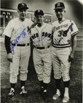 "Autographs:Photos, Joe, Dom, and Vince DiMaggio Signed Photograph. A beautiful 8x10""black and white photograph of the three DiMaggio brothers..."