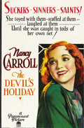 "Movie Posters:Drama, The Devil's Holiday (Paramount, 1930). One Sheet (26"" X 40""). ..."