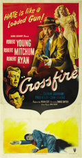 "Movie Posters:Film Noir, Crossfire (RKO, 1947). Three Sheet (41"" X 81""). ..."