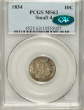 Bust Dimes, 1834 10C Small 4 MS63 PCGS. CAC....