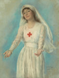 Mainstream Illustration, HASKELL COFFIN (American, 20th Century). Red Cross Nurse, posterillustration, 1919. Pastel on board. 37 x 28 in.. Signe...