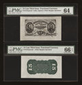 Fractional Currency:Third Issue, Fr. 1272SP 15¢ Third Issue Wide Margin Pair PMG Gem Uncirculated 66 EPQ and Choice Uncirculated 64... (Total: 2 notes)