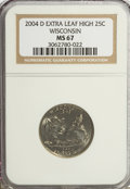 Statehood Quarters, 2004-D 25C Wisconsin Extra Leaf High MS67 NGC. PCGS Population(2/0). Numismedia Wsl. Price for problem...
