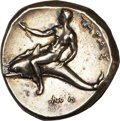 Ancients:Greek, Ancients: Calabria, Taras. Ca. 302 B.C. AR nomos (20 mm, 7.90 g, 12h)....