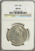Bust Half Dollars: , 1834 50C Large Date, Large Letters MS60 NGC. NGC Census: (6/589).PCGS Population (12/254). Mintage: 6,412,004. Numismedia ...