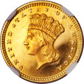 Proof Gold Dollars, 1856 G$1 Slanted 5 PR66 ★ Ultra Cameo NGC. CAC....