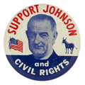 "Political:Pinback Buttons (1896-present), Lyndon B. Johnson: Key ""Civil Rights"" Button Rarity...."