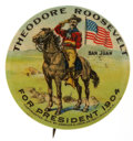 "Political:Pinback Buttons (1896-present), Theodore Roosevelt: Choice Example of the Classic ""San Juan Hill""Design. ..."