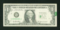 Error Notes:Foldovers, Fr. 1925-G $1 1999 Federal Reserve Note. Very Fine.. ...