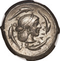 Ancients:Greek, Ancients: Sicily, Syracuse. Deinomenid Tyranny. Ca. 485-466 B.C. ARtetradrachm (25 mm, 17.09 g, 11 h)....