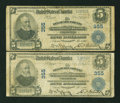 National Bank Notes:Pennsylvania, Chester, PA - $5 1902 Plain Back Fr. 598 The Delaware County NB Ch. # 355 Two Examples. ... (Total: 2 notes)