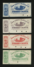 Obsoletes By State:Maryland, Newton, MD- 3¢ Scrip Remainders from Various Newton Merchants. Four Examples.. ... (Total: 4 notes)