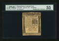 Colonial Notes:Pennsylvania, Pennsylvania April 25, 1776 40s PMG About Uncirculated 55....