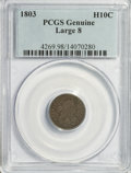 Early Half Dimes: , 1803 H10C Large 8--Damage--PCGS Genuine. Mintage: 37,850.(#4269)...