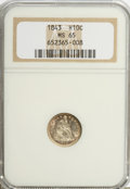 Seated Half Dimes: , 1843 H10C MS65 NGC. NGC Census: (22/11). PCGS Population (13/10).Mintage: 1,165,000. Numismedia Wsl. Price for problem fre...