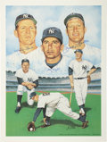 Autographs:Others, New York Yankees Legends Signed Lithograph from Whitey FordCollection....