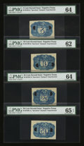 Fractional Currency:Second Issue, Negative Essay Denomination Set in Blue Milton 2E5R.2c, 2E10R.5c,2E25R.1b, 2E50R.1e PMG 64, 62, 64 and 65 EPQ.. ... (Total: 4 notes)