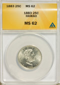 Coins of Hawaii: , 1883 25C Hawaii Quarter MS62 ANACS. NGC Census: (104/540). PCGSPopulation (163/823). Mintage: 500,000. (#10987)...