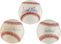 Autographs:Baseballs, Ken Griffey Jr., Frank Robinson and Hank Aaron Single SignedBaseballs Lot of 3.... (Total: 3 items)