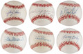 Autographs:Baseballs, Major League Stars Single Signed Baseballs Lot of 6.... (Total: 6card)