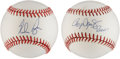 Autographs:Baseballs, Roger Clemens and Nolan Ryan Single Signed Baseballs Lot of 2....