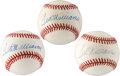 Autographs:Baseballs, 1990's Ted Williams UDA Single Signed Baseballs Lot of 3....